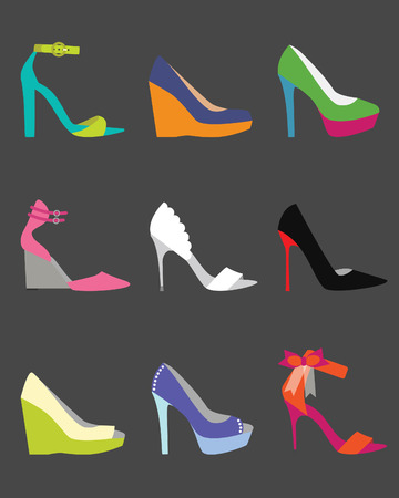 30538618 - unique colorful women shoe icons - flat modern design on dark gray background